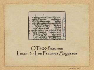 OT420 Psaumes Le�on 3 - Les Psaumes Sagesses