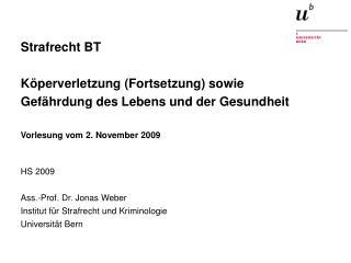 HS 2009 Ass.-Prof. Dr. Jonas Weber Institut für Strafrecht und Kriminologie Universität Bern
