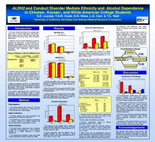 ALDH2  and Conduct Disorder Mediate Ethnicity and  Alcohol Dependence