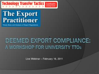 Deemed export compliance: a workshop for university  tto s