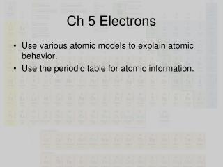 Ch 5 Electrons