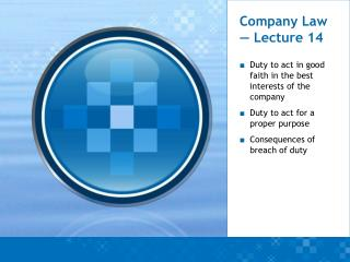 Company Law — Lecture 14
