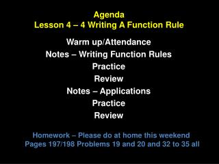 Agenda Lesson 4 – 4 Writing A Function Rule