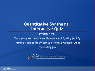 Quantitative Synthesis I Interactive Quiz