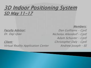 3D Indoor Positioning System SD May 11-17