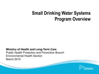 Small Drinking Water Systems  Program Overview
