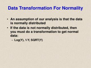 Data Transformation For Normality