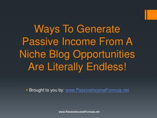 Ways To Generate Passive Income From A Niche Blog: Opportuni
