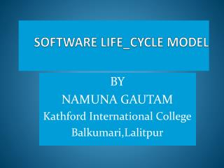 SOFTWARE LIFE_CYCLE MODEL