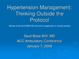Hypertension Management:  Thinking Outside the Protocol