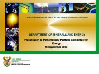 Presentation to Parliamentary Portfolio Committee for    Energy  15 September 2009