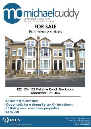 122, 124, 126 Palatine Road, Blackpool, Lancashire, FY1 4DS