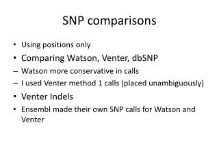SNP comparisons