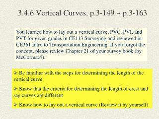 3.4.6 Vertical Curves, p.3-149 ~ p.3-163