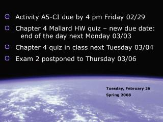 Activity A5-CI due by 4 pm Friday 02/29