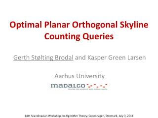 Optimal Planar Orthogonal Skyline Counting Queries