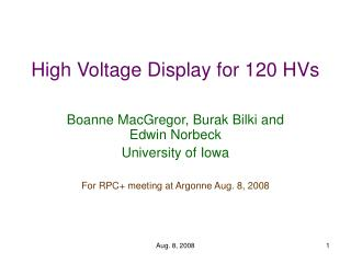 High Voltage Display for 120 HVs