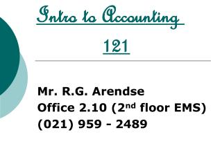 Intro to Accounting  121