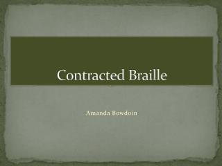 Contracted Braille