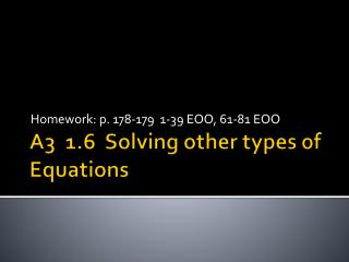 A3  1.6  Solving other types of Equations