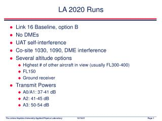 LA 2020 Runs