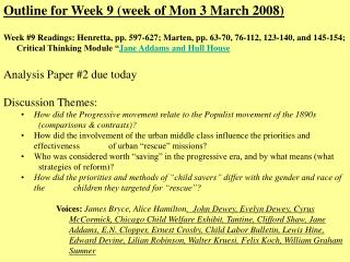 Outline for Week 9 (week of Mon 3 March 2008)