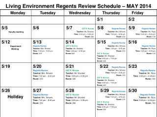 Living Environment Regents Review Schedule – MAY 2014