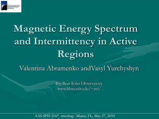 Magnetic Energy Spectrum and Intermittency in Active Regions