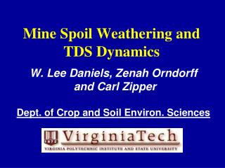 Mine Spoil Weathering and TDS Dynamics