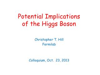 Potential Implications of the Higgs Boson