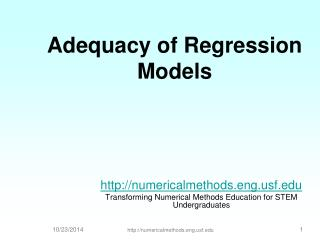 Adequacy of Regression Models