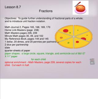 Lesson 8.7     Fractions