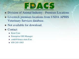 Division of Animal Industry - Premises Locations