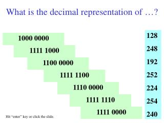 What is the decimal representation of �?
