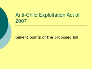 Anti-Child Exploitation Act of 2007