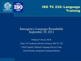 ISO TC 232: Language Training