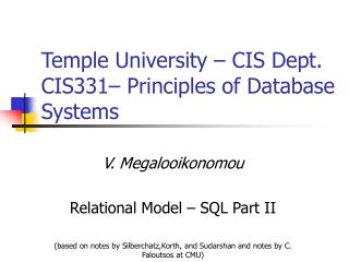 Temple University – CIS Dept. CIS331– Principles of Database Systems