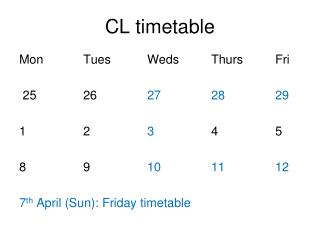CL timetable