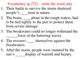 Vocabulary (p.272) – write the word only