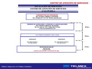 ESCALACION DE SERVICIOS  CENTRO DE ATENCIÓN DE SERVICIOS  (CAS) PUEBLA