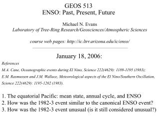 GEOS 513 ENSO: Past, Present, Future