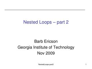 Nested Loops – part 2