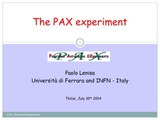 The PAX experiment
