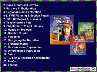 2. Book Front/Back Covers 3. Partners in Exploration 4. Regional (Unit) Exploration