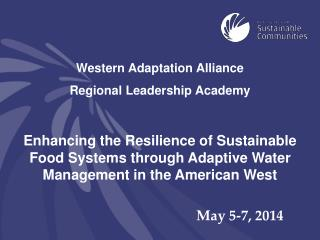 Western Adaptation Alliance  Regional Leadership Academy