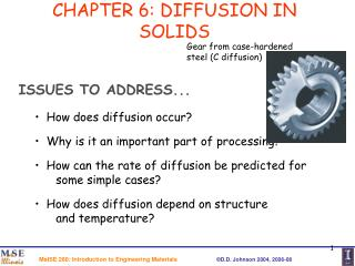 CHAPTER 6: DIFFUSION IN SOLIDS