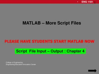 Script  File Input – Output : Chapter 4