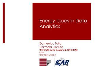 Energy  I ssues  in Data Analytics