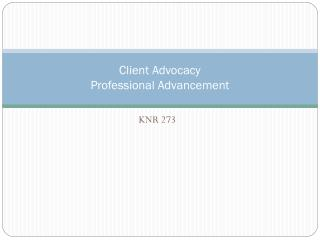 Client Advocacy Professional Advancement
