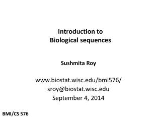 Introduction to  Biological sequences